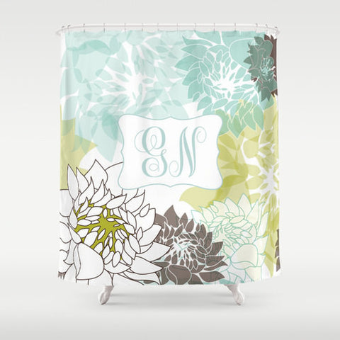 Teal & Green Custom Shower Curtain