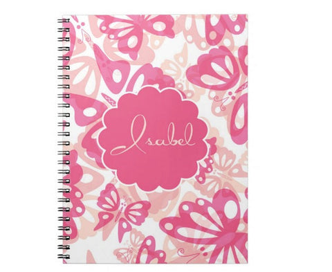 Pink Butterflies Personalized Notebook