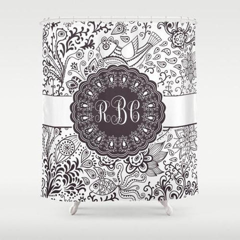 Grey  Monogram Shower Curtain