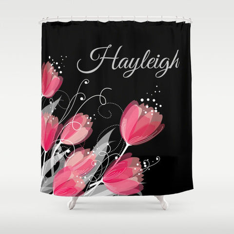 Watercolor Tulips, Pink & Black  Monogram Shower Curtain