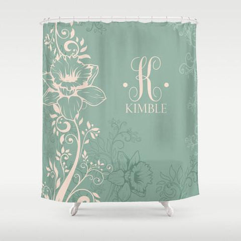 Grey Blue Monogram Shower Curtain