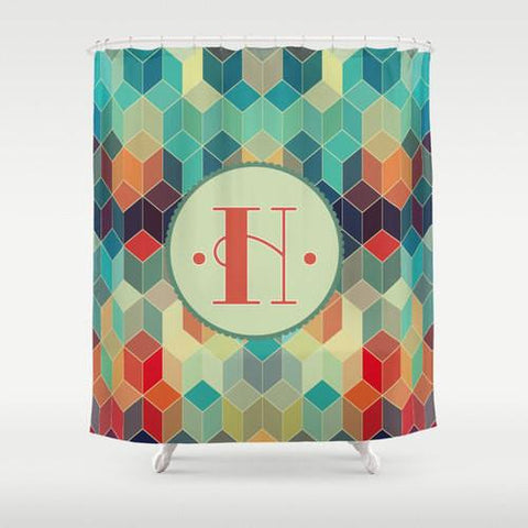 Gorgeous Rich Colors Prism Monogram Shower Curtain