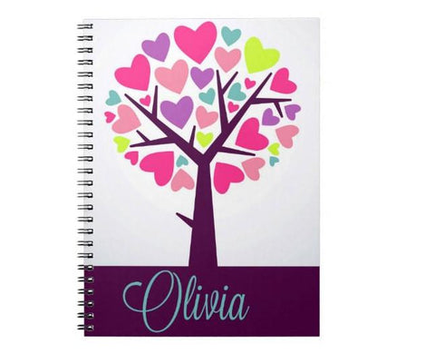 Colorful Heart Tree Personalized Notebook