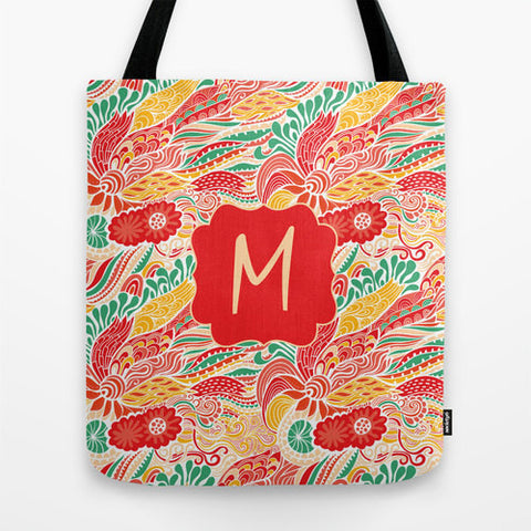 Orange & Teal Paisley Monogram Tote Bag