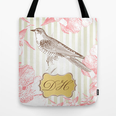 Vintage Bird Monogram Tote Bag