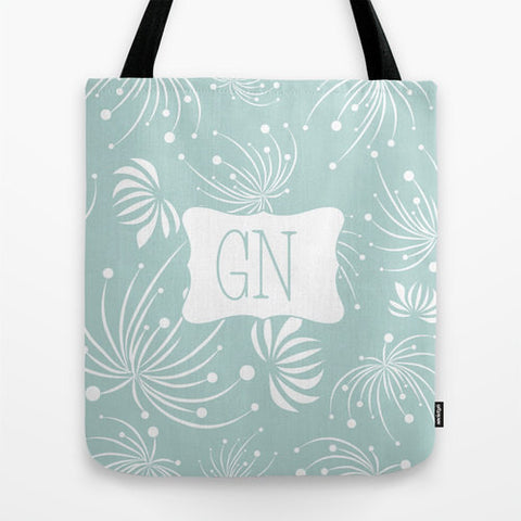 Sky Blue & White Monogram Tote Bag