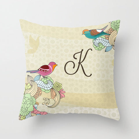Vintage Birds Monogram Throw Pillow
