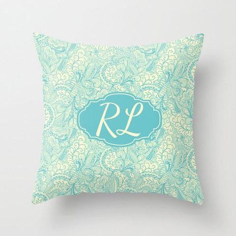 Aqua & Cream Monogram Throw Pillow