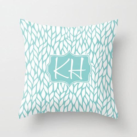Blue & White Leafy Monogram Throw Pillow