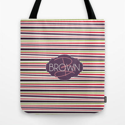 Purple Stripes Monogram Tote Bag