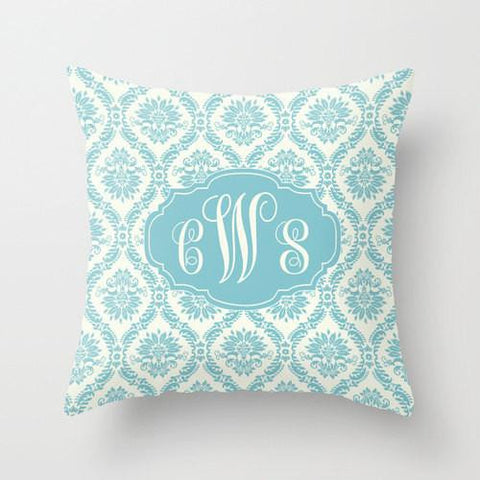 Blue Damask  Monogram Throw Pillow