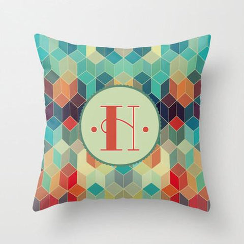 Colorful Prism Monogram Throw Pillow