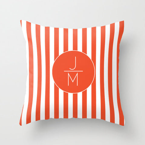 Orange Stripes Monogram Throw Pillow