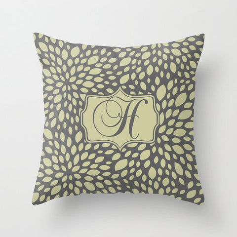 Olive & Grey Leafy Monogram Throw Pillow