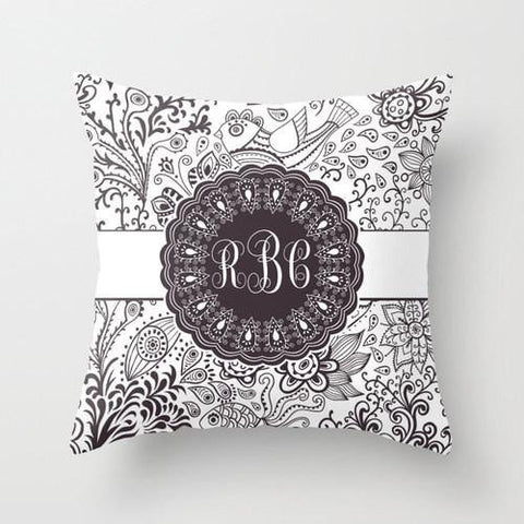 Grey & White Monogram Throw Pillow