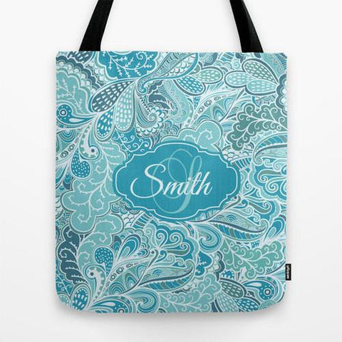Blue Paisley FloralMonogram Tote Bag