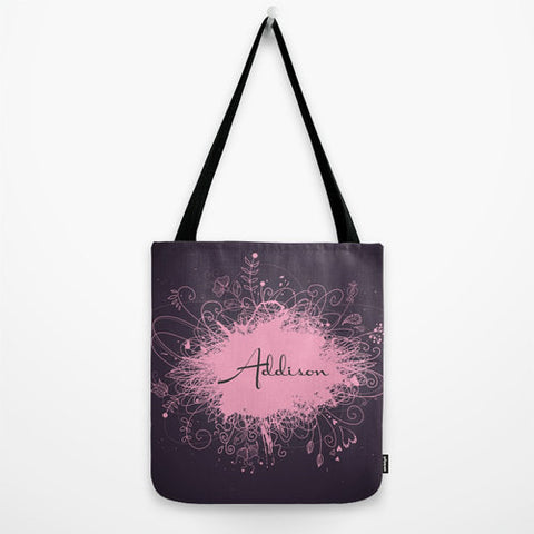 Pink & Purple Splatter Monogram Tote Bag