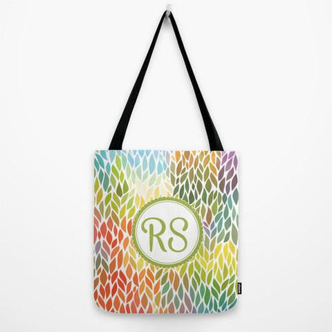 Colorful Leaves Monogram Tote Bag