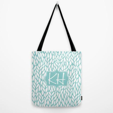 Blue & White Flower Burst Monogram Tote Bag