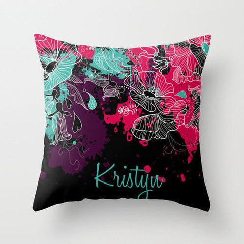 Floral Splatter Monogram Throw Pillow