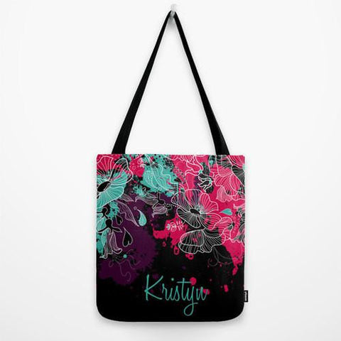 Floral Pain Splatter Monogram Tote Bag