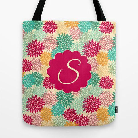 Colorful Flower Bursts Monogram Tote Bag