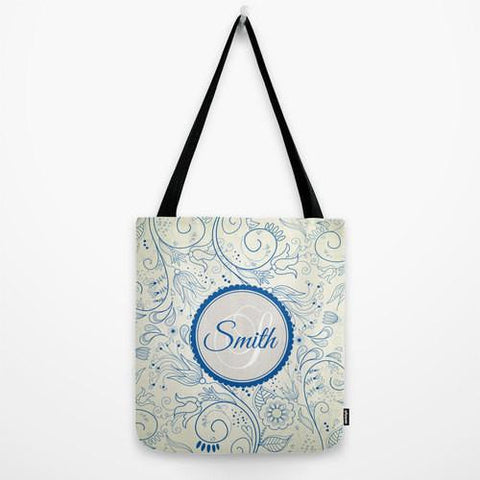 Blue & Cream Sketch Monogram Tote Bag