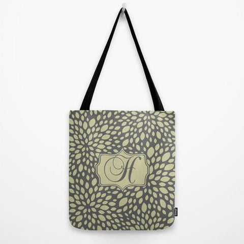 Grey & Olive Leaves Monogram Tote Bag