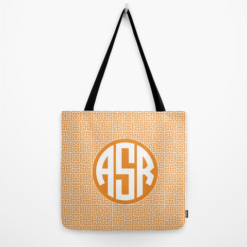 Orange Greek Key Tote Bag Monogram Tote Bag