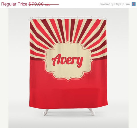 Red Burst   Personalized Shower Curtain