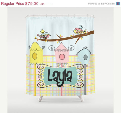 Pastel Bird Feeders Personalized Shower Curtain