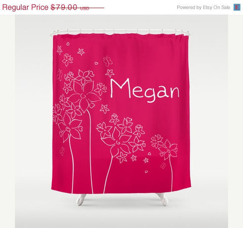 Skecth Flowers Personalized Shower Curtain