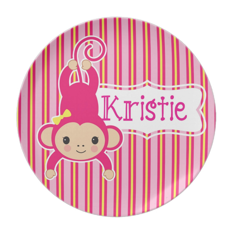 Monkey Just Hangin'  - Personalized Melamine Plate -  Style 013