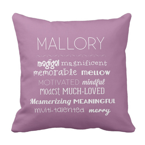 M Affirmations Girl Personalized Throw Pillow