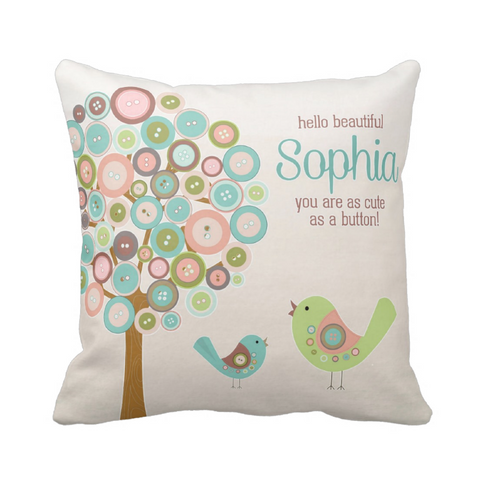 Cute As A Button Personalized Throw Pillow