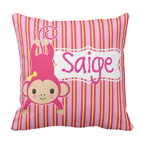 Pink Monkey Personalized Throw Pillow