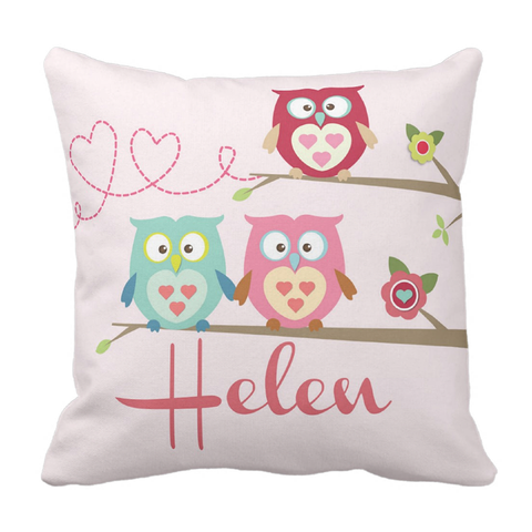 Owls on Branch Personalized Throw Pillow