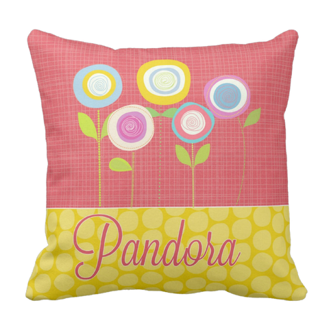 Bright Blossoms Personalized Throw Pillow