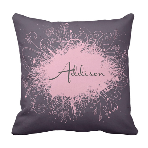 Purple Pink Splatter Personalized Throw Pillow