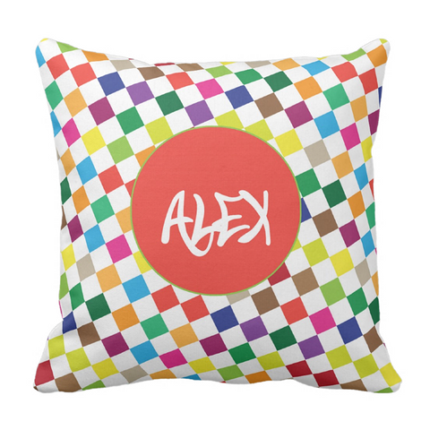 Colorful Checks Personalized Throw Pillow