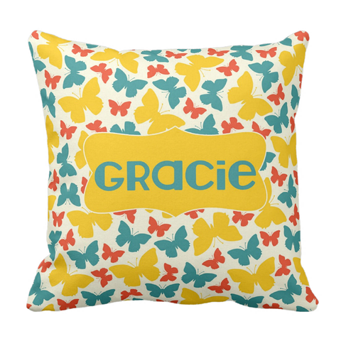 Teal & Yellow Butterflies Personalized Throw Pillow