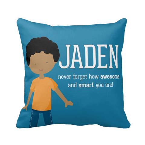 Curly Hair Hair Happy Boy Personalized Pillow