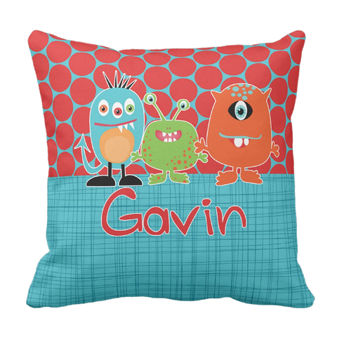 Monster Trio Personalized Throw Pillow