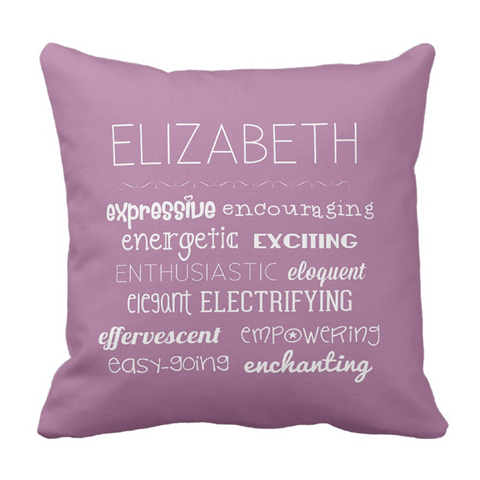 E Affirmations Girl Personalized Throw Pillow