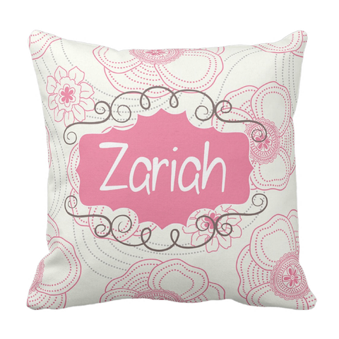 Pink & Cream Ornate Personalized Throw Pillow