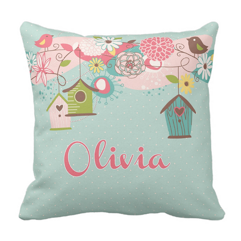 Beautiful Birdhouse Personalized Throw Pillow
