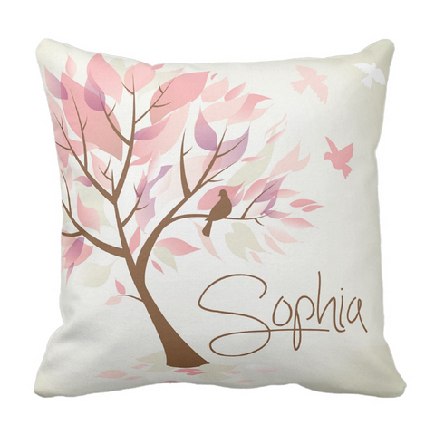 Colorful Leaves Personalized Throw Pillow