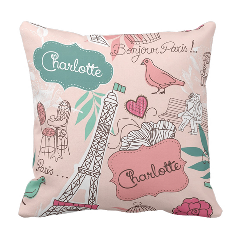 Paris Personalized Throw Pillow