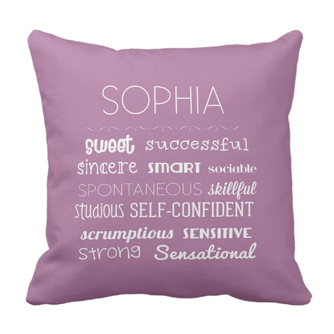 S Affirmations Girl Personalized Throw Pillow