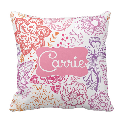 Colorful Sketch Flowers Personalized Throw Pillow